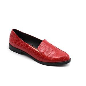 Zara Traffaluc Red Croc Embossed Penny Loafer 39